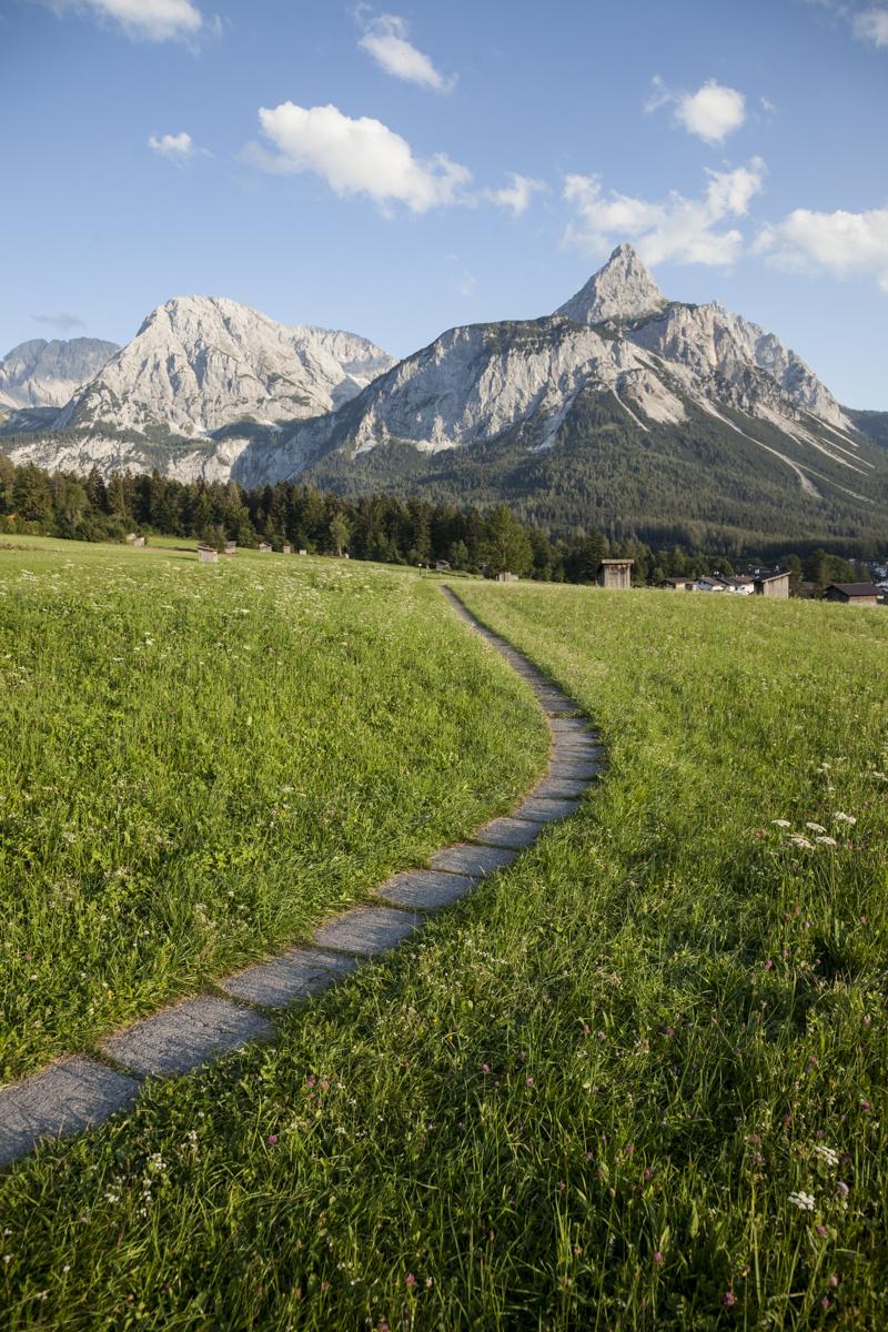 Am Plattenweg nach Ehrwald. Rechts die Ehrwalder Sonnenspitze (2.417m)