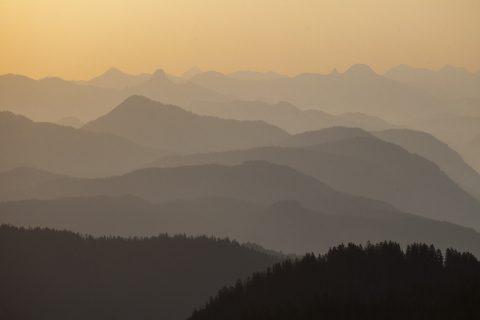 Blick vom Wank Richtung Mangfallgebirge